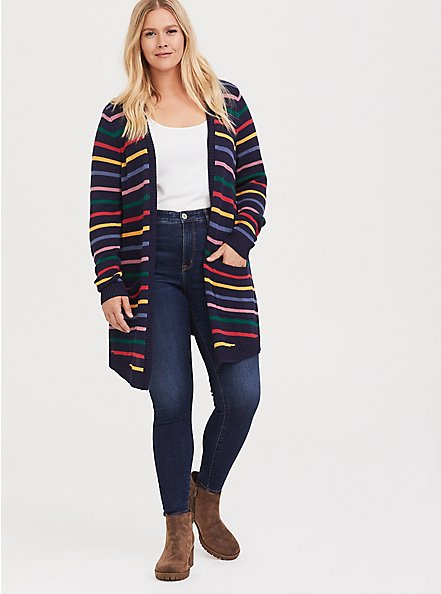 Her Universe Doctor Who Rainbow Knit Cardigan, RAINBOW, alternate