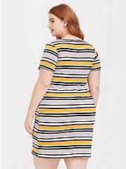 Yellow Multi Stripe Rib T-Shirt Dress, STRIPE - WHITE, alternate