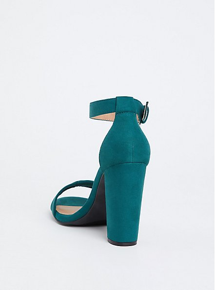 Plus Size Emerald Green Twisted Strap Tapered Heel (WW), GREEN, alternate
