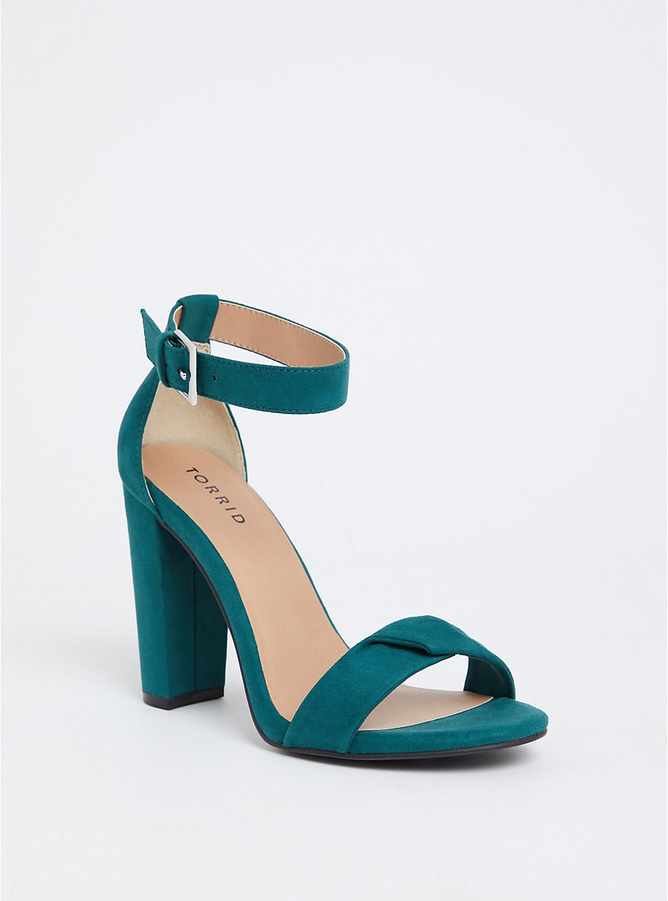 Plus Size Emerald Green Twisted Strap Tapered Heel (WW), GREEN, hi-res
