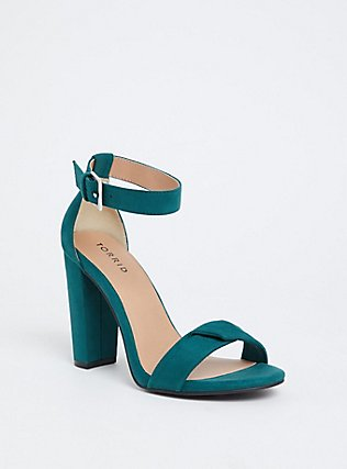 Emerald Green Twisted Strap Tapered Heel (WW), GREEN, hi-res