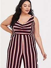 Plus Size Red Multi Stripe Rib Jumpsuit, , alternate