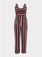 Plus Size Red Multi Stripe Rib Jumpsuit, , hi-res