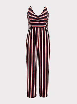 Red Multi Stripe Rib Wide Leg Jumpsuit, , flat