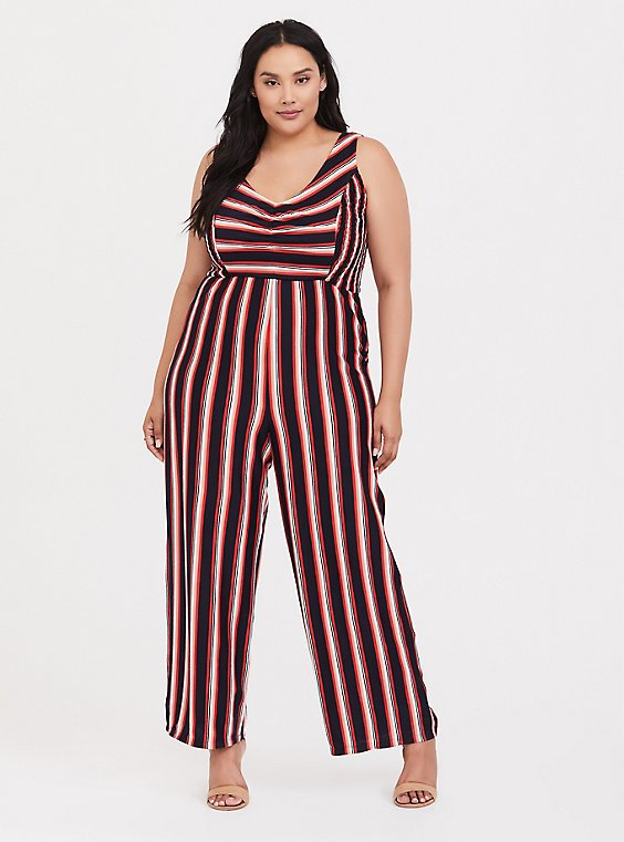 Plus Size Red Multi Stripe Rib Wide Leg Jumpsuit, , hi-res