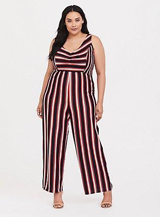 Red Multi Stripe Rib Jumpsuit, , hi-res