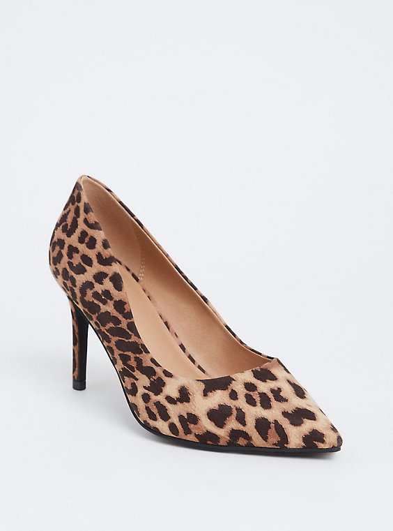 Leopard Faux Suede Pointed Toe Pump (WW), , hi-res