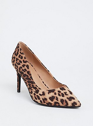 Leopard Faux Suede Pointed Toe Pump (Wide Width), ANIMAL, hi-res