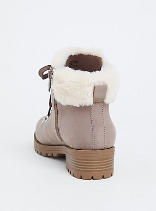 Plus Size Taupe Faux Suede & Faux Fur Hiker Boot (WW), TAN/BEIGE, alternate