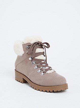 Plus Size Taupe Faux Suede & Faux Fur Hiker Boot (WW), TAN/BEIGE, hi-res