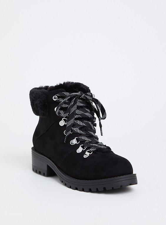 Plus Size Black Faux Suede & Faux Fur Hiker Boot (WW), BLACK, hi-res