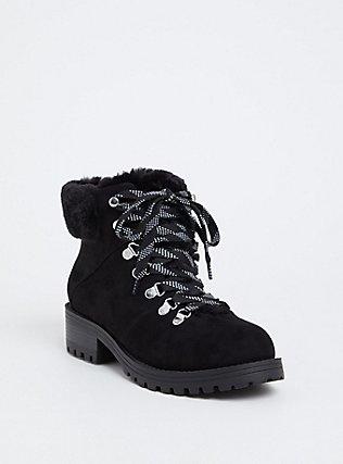Black Faux Suede & Faux Fur Hiker Boot (WW), BLACK, hi-res