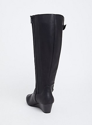 Black Faux Leather Tall Wedge Boot (WW & Wide to Extra Wide Calf), BLACK, alternate