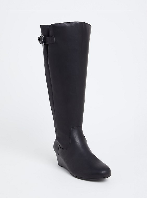 Black Faux Leather Tall Wedge Boot (WW & Wide to Extra Wide Calf), , hi-res
