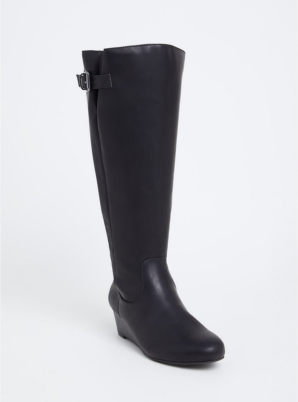 Black Faux Leather Tall Wedge Boot (WW & Wide to Extra Wide Calf), BLACK, hi-res