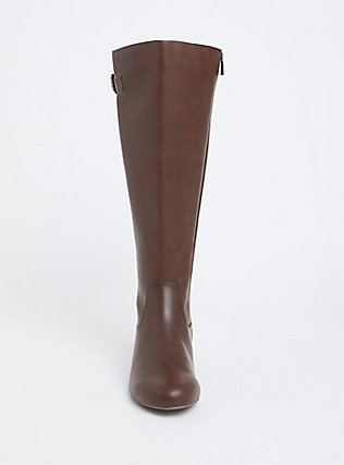 Chestnut Brown Faux Leather Tall Wedge Boot (WW & Wide to Extra Wide Calf), BROWN, alternate