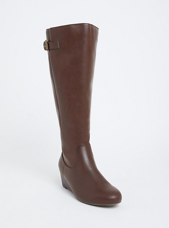 Chestnut Brown Faux Leather Tall Wedge Boot (WW & Wide to Extra Wide Calf), , hi-res