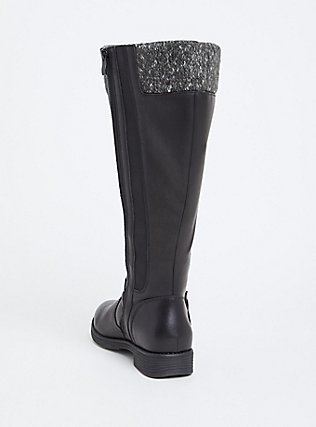Black Faux Leather Sweater Trimmed Knee-High Boot (WW & Wide to Extra Wide Calf), BLACK, alternate