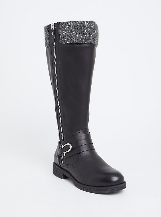 Plus Size Black Faux Leather Sweater Trimmed Knee-High Boot (WW & Wide to Extra Wide Calf), , hi-res