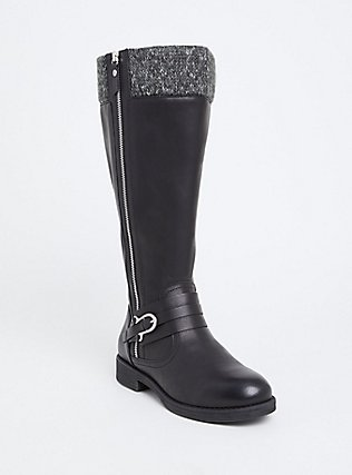 Black Faux Leather Sweater Trimmed Knee-High Boot (Wide Width & Wide to Extra Wide Calf), BLACK, hi-res