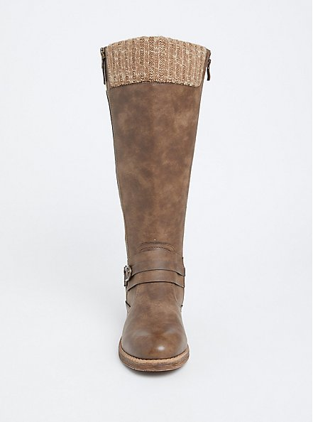 Dark Taupe Sweater Trimmed Tall Boot (WW & Wide To Extra Wide Calf), BROWN, alternate