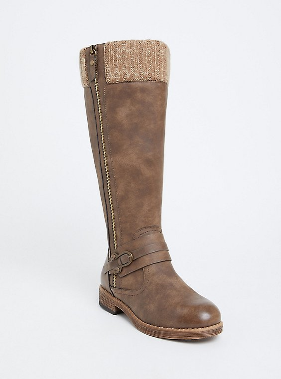 Plus Size Brown Sweater Trimmed Tall Boot (Wide Width & Wide to Extra Wide Calf), , hi-res
