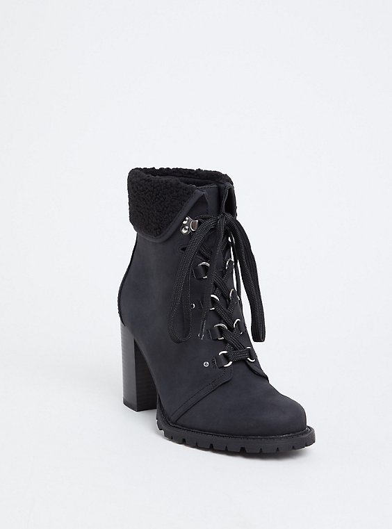 Plus Size Black Faux Suede & Faux Shearling Foldover Combat Boot (WW), , hi-res