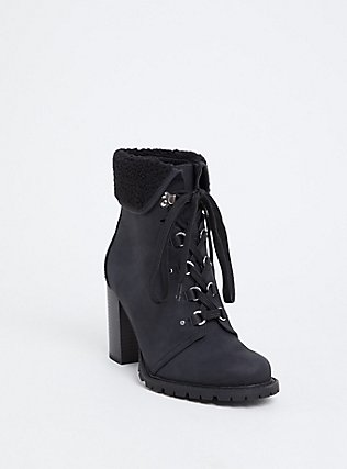 Black Faux Suede & Faux Shearling Foldover Combat Boot (WW), BLACK, hi-res