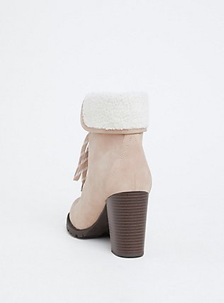 Light Pink Faux Suede Foldover Shearling Combat Boot (WW), BLUSH, alternate