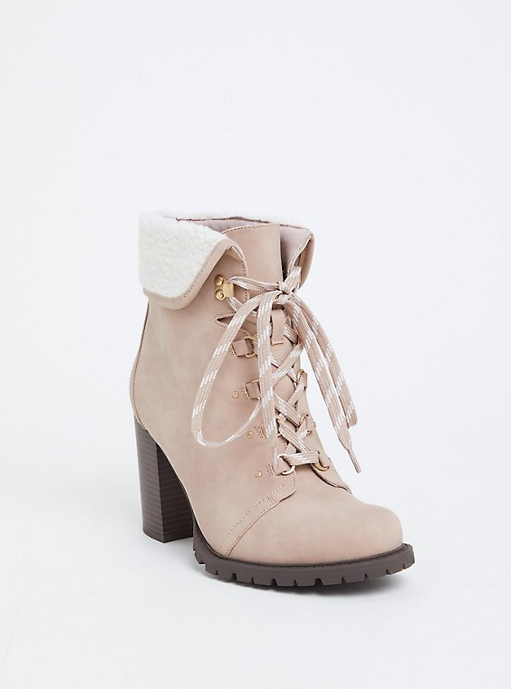 Plus Size Light Pink Faux Suede Foldover Shearling Combat Boot (WW), , hi-res