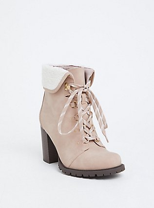Light Pink Faux Suede Foldover Shearling Combat Boot (WW), BLUSH, hi-res
