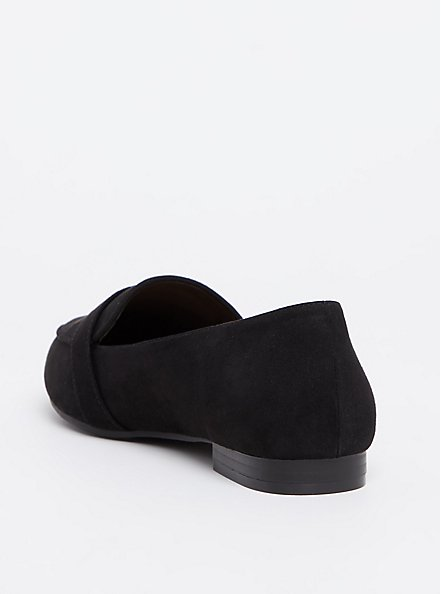 Black Faux Suede Loafer (WW), BLACK, alternate