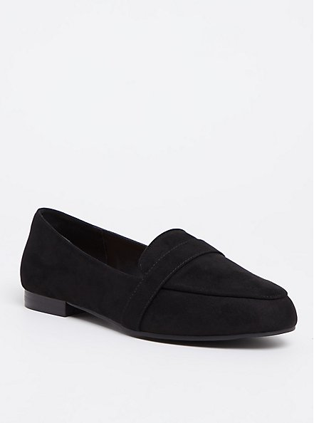 Black Faux Suede Loafer (WW), BLACK, hi-res