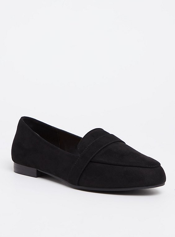 Black Faux Suede Loafer (WW), , hi-res