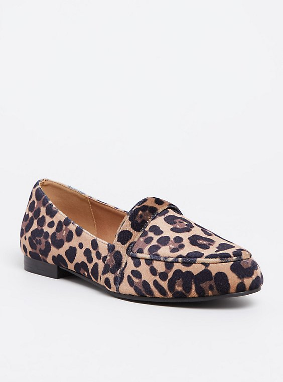 Plus Size Leopard Velvet Loafer (WW), , hi-res