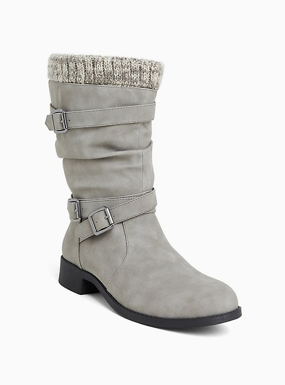 Grey Sweater Trimmed Buckle Boot (WW), , hi-res