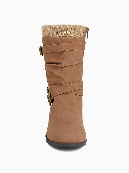 Cognac Brown Sweater Trimmed Buckle Boot (Wide Width), TAN/BEIGE, alternate