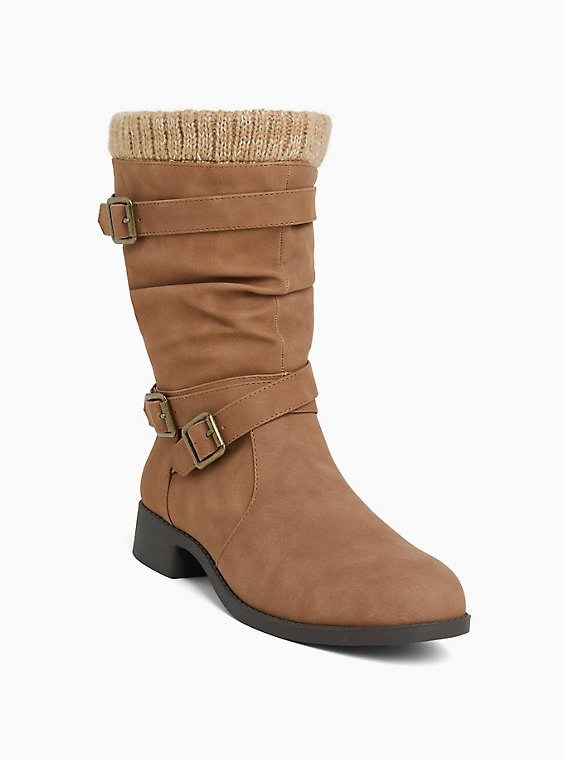 Cognac Brown Sweater Trimmed Buckle Boot (Wide Width), TAN/BEIGE, hi-res