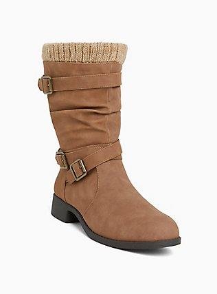 Cognac Brown Sweater Trimmed Buckle Boot (Wide Width), TAN/BEIGE, hi-res