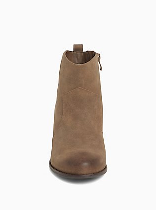 Brown Faux Leather Western Bootie (Wide Width), BROWN, alternate