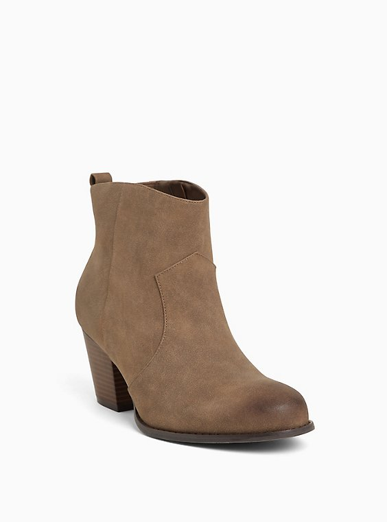 Brown Faux Leather Western Bootie (Wide Width), BROWN, hi-res