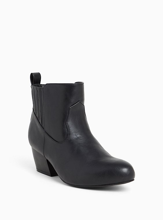 Black Faux Leather Western Bootie (Wide Width), , hi-res