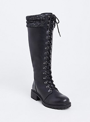 Black Sweater Trimmed Tall Combat Boot (WW), BLACK, alternate