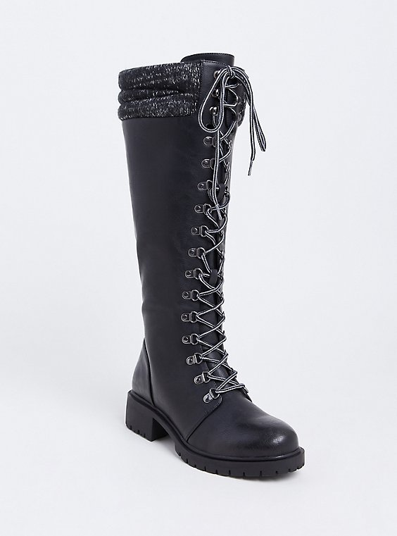 Black Sweater Trimmed Tall Combat Boot (WW), , hi-res