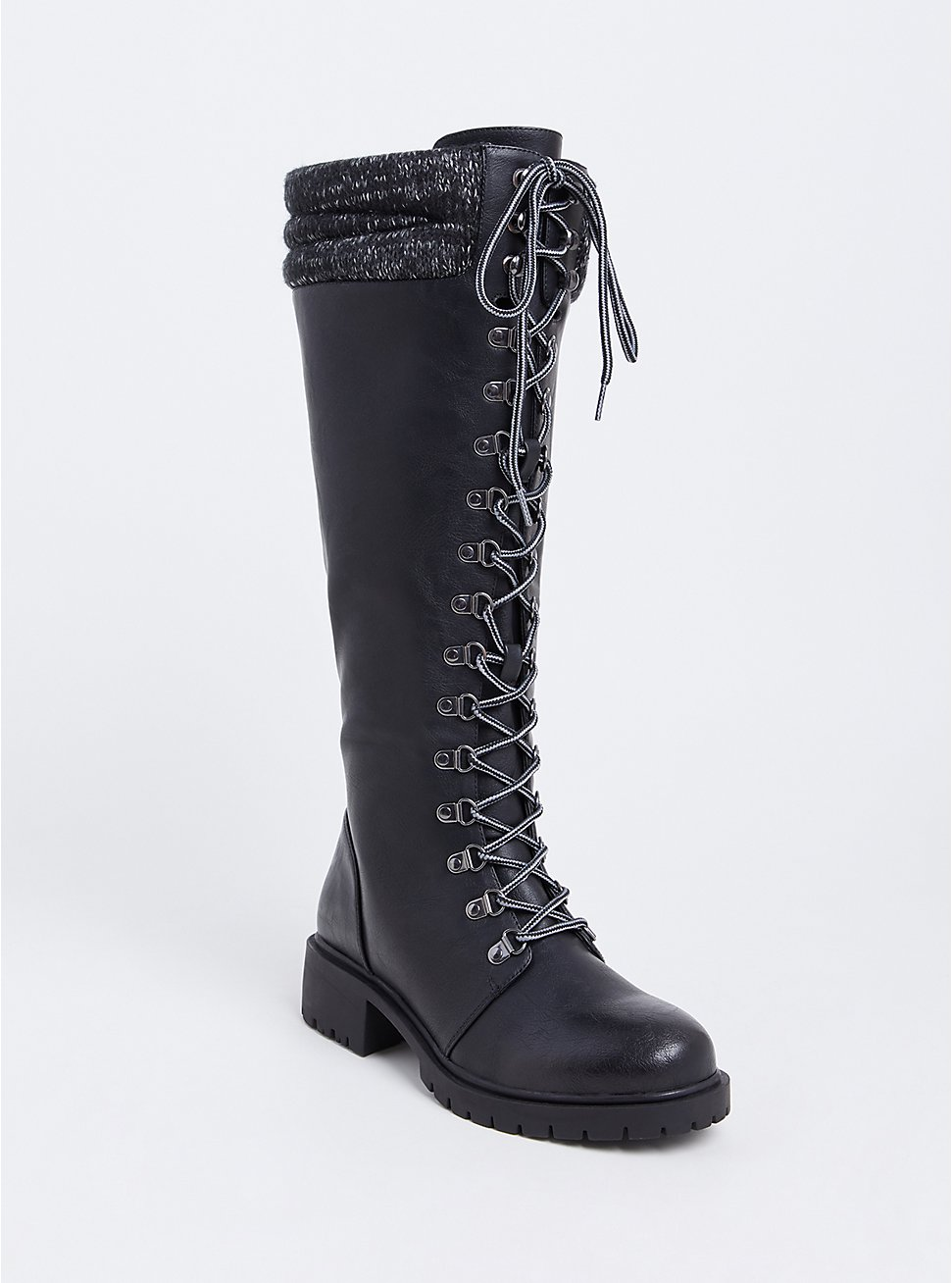 Black Sweater Trimmed Tall Combat Boot (WW), BLACK, hi-res