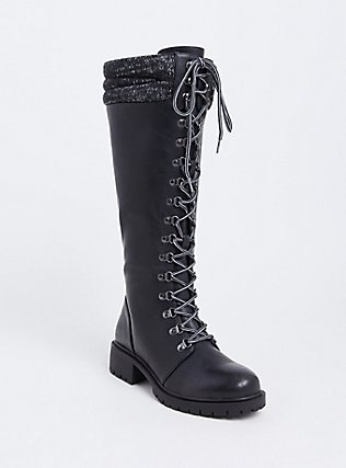 Black Sweater Trimmed Tall Combat Boot (Wide Width), BLACK, hi-res