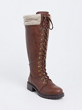 Brown Faux Leather Sweater Trimmed Tall Combat Boot (WW), BROWN, alternate