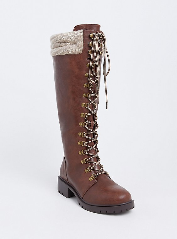 Brown Faux Leather Sweater Trimmed Tall Combat Boot (WW), , hi-res