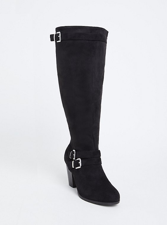 Black Faux Suede Strappy Tall Block Heel Boot (Wide Width & Wide to Extra Wide Calf), , hi-res