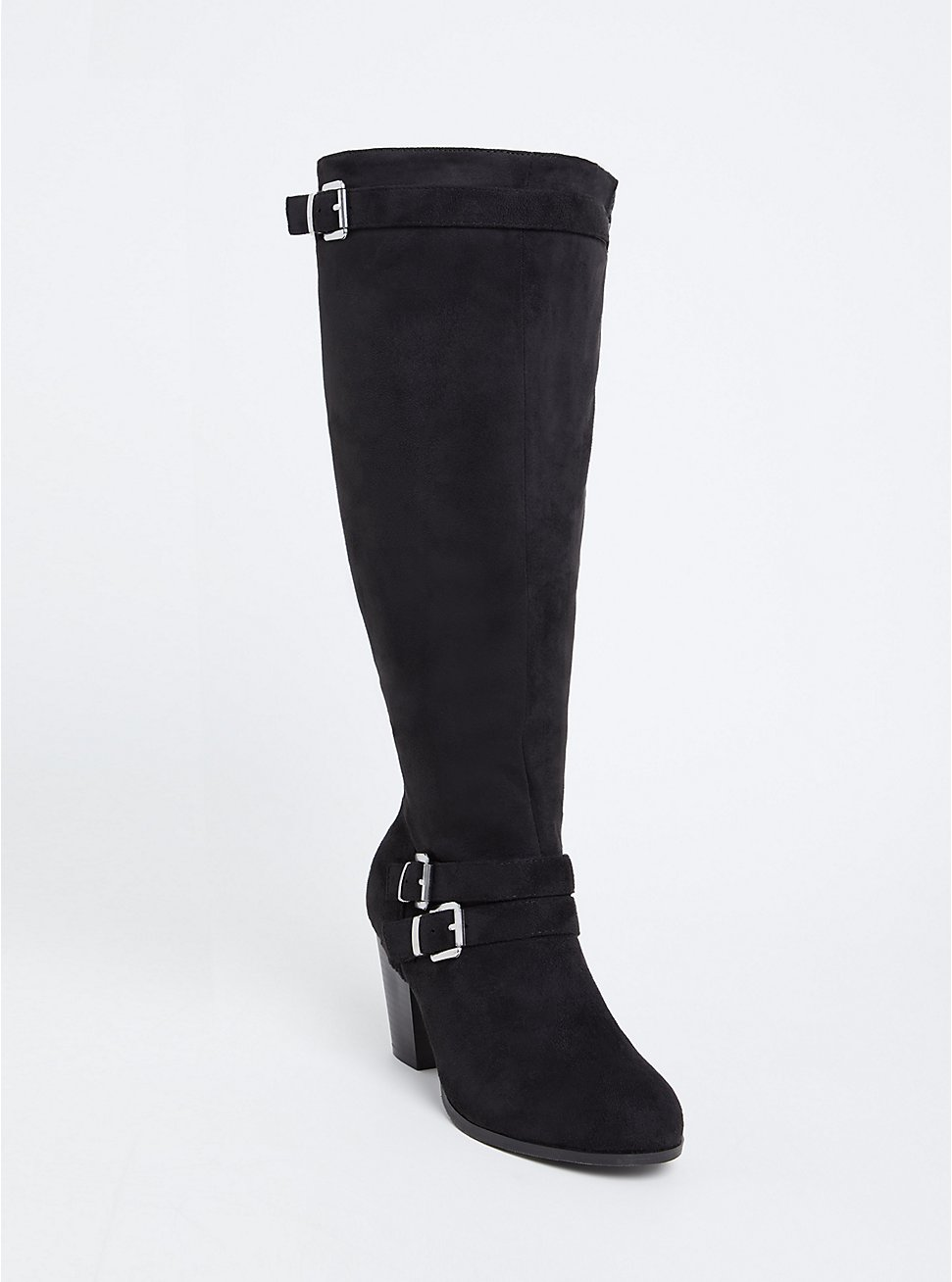 Black Faux Suede Strappy Tall Block Heel Boot (Wide Width & Wide to Extra Wide Calf), BLACK, hi-res